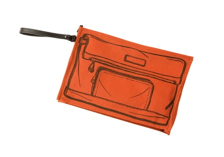 Orange handbag with sketched handbag on, isolated on white background. Clipping path included.