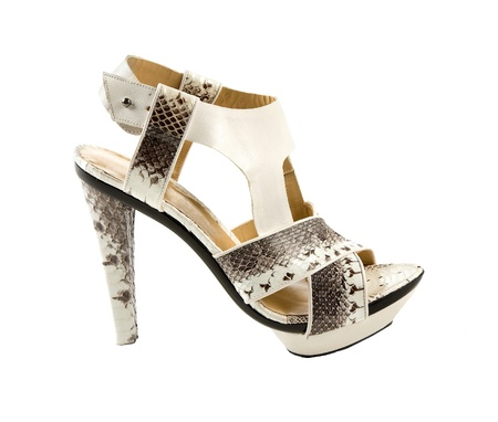 peep toe: Python sandal stiletto isolated on white background. Clipping path included.