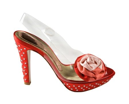 strass: Red and transparent stilettos with strass and fabric rose, isolated on white background. Clipping path included. Stock Photo