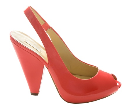 peep toe: Red patent leather peep toe isolated on white background. Clipping path included. Stock Photo