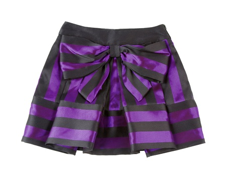 Satin striped pleated purple mini skirt isolated on white background  Clipping path included  photo