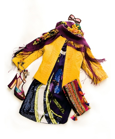 peep toe: Sequins dress fashion composition on white background Stock Photo
