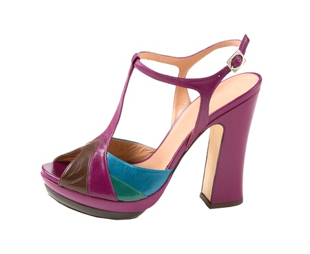 peep toe: Several colors leather peep toe high heels isolated on white background  Clipping path included  Stock Photo