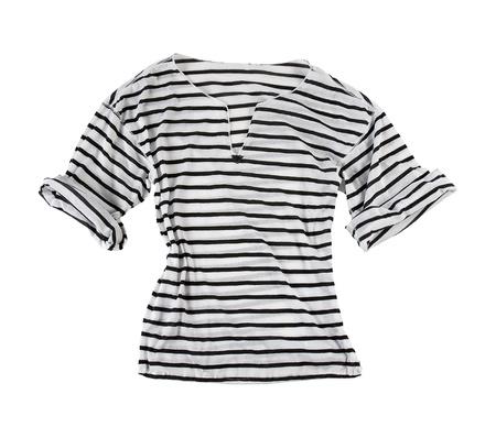 tee shirt: White t-shirt with black horizontal stripes isolated on white background