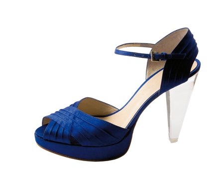 Transparent heel blue peep toe isolated on white background  Clipping path included
