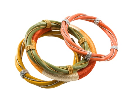 accesories: Wood wires and thread tribal bracelets still life isolated on white background  Clipping path included