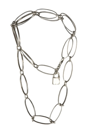 Metal big links necklace chain with padlock, isolated on white background  Clipping path included  Stock Photo