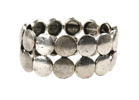 Raw metal silver bracelet, isolated on white background  Clipping path included