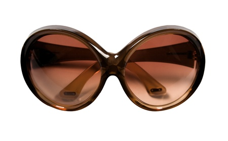rimmed: Big brown rimmed vintage sunglasses isolated on white background  Clipping path included