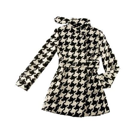 Black and white houndstooth check woolen cute coat isolated on white background  Clipping path included