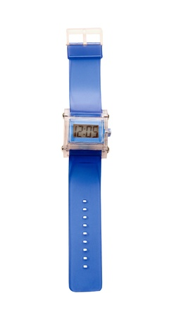 cut wrist: Blue simple translucent silicone watch isolated on white background  Clipping path included  Stock Photo