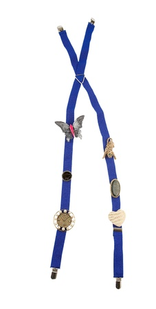 Blue suspenders with brooches and jewels isolated on white background  Clipping path included  photo