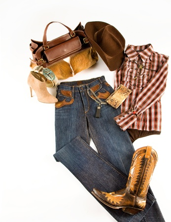 suede belt: Cowgirl fashion composition on white background
