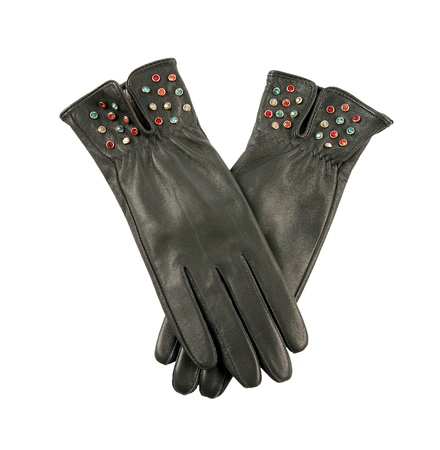 Dark grey leather gloves with colorful crystals isolated on white background. Clipping path included. photo