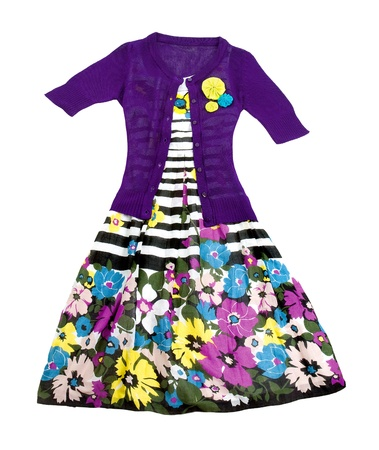 Flowers and stripes dress with knit pullover on white background. Clipping apth included