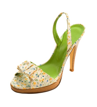 peep toe: Flowers print slingback peep toe stiletto isolated on white background. Clipping path included.