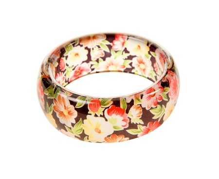 Flowers print transparent bracelet isolated on white background. Clipping path included. Stock Photo