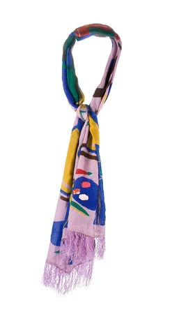 naif: Fringed naif art neckerchief isolated on white background. Clipping path included.