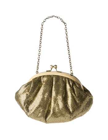Golden mirror scales clutch with chain shoulder strap isolated on white background. Clipping path included.