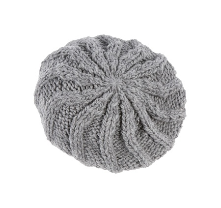 Grey knit beanie isolated on white background. Clipping path included. photo