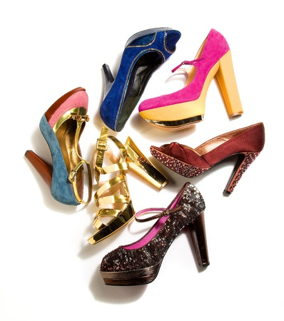 High heels fashion composition on white background Stock Photo - 18608403