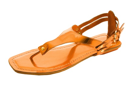 ankle strap: Orange metallized flip flop patent leather sandal isolated on white background. Clipping path included.