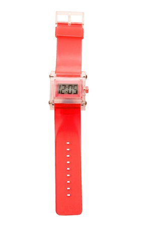 cut wrist: Red simple translucent silicone watch isolated on white background. Clipping path included. Stock Photo