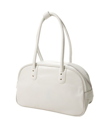 lugage: Retro white leather sport bag isolated on white background. Clipping path included.