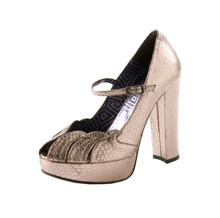 ankle strap: Snake leather metallic ankle strap high heel isolated on white background. Clipping path included. Stock Photo