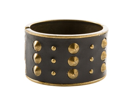 accesories: Studded leather bangle isolated on white background. Clipping path included.