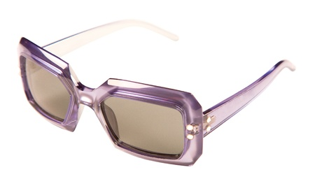 Translucid purple rimmed vintage sunglasses isolated on white background. Clipping path included. Stock Photo