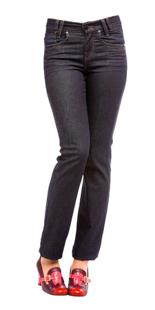 Young woman bent legs in black jeans and purple pumps isolated on white background  Clipping path included