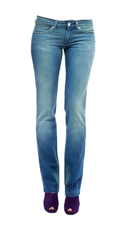 peep toe: Young woman legs with clear blue jeans and purple peep toe pumps isolated on white background  Clipping path included
