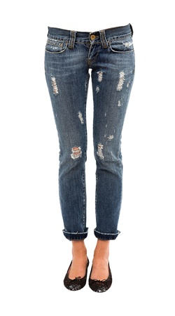Young woman legs in worn jeans and sequins ballerinas isolated on white background  Clipping path included  Stock Photo