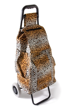 compulsive: Aggressive compulsive leopard print shopping cart isolated on white background.