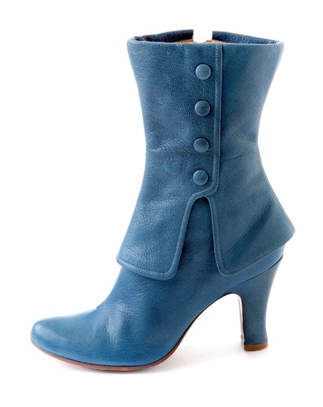 Glamourous blue leather high heel boot isolated on white background  Stock Photo