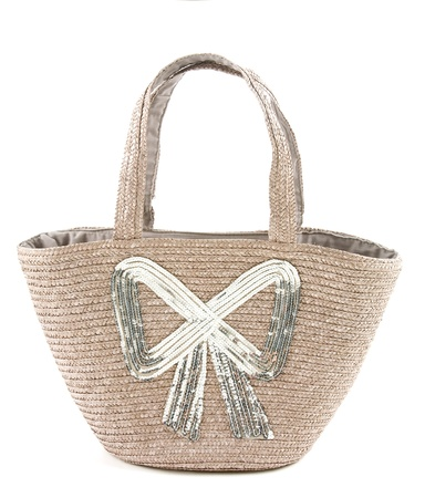 tote: Big silver sequins bow raffia basket tote isolated on white background