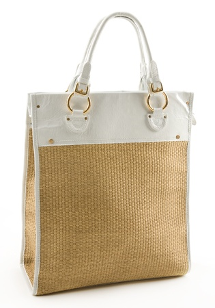 tote: Raffia and white leather basket tote isolated on white background