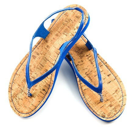 Cork soled blue flip flop sandals isolated on white background  photo