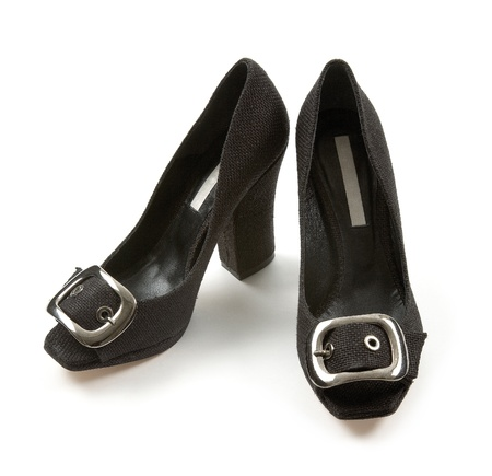 Big buckle woven high heeled black peep toe isolated on white background