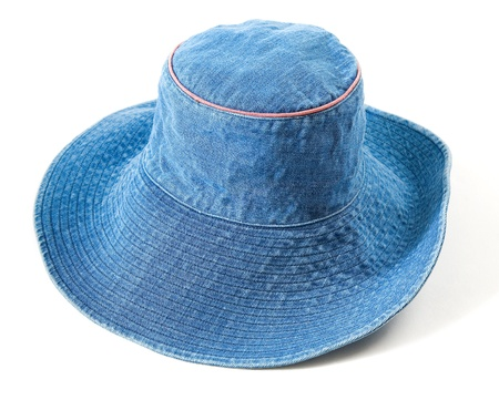 fedora hat: Denim floppy hat isolated on white background.