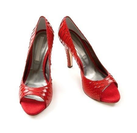 peep toe: Python scales red peep toe stilettos isolated on white background.