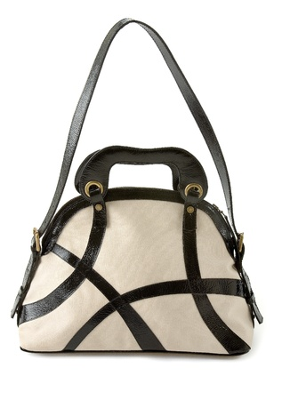 tote: Black and white patent leather straps tote isolated on white background