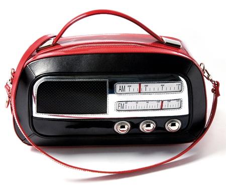 Vintage radio imitation bicolor leather purse isolated on white background Stock Photo - 18820355