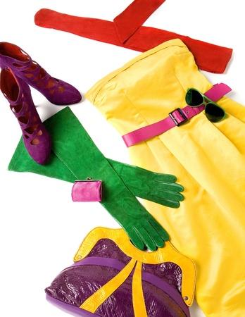 accesories: Color block still life fashion composition Stock Photo
