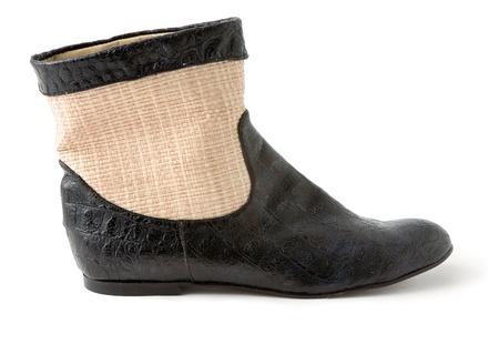 Fransen Leder Stiletto Stiefel Auf Weißem Hintergrund