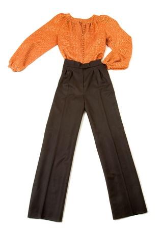 metallized: Metallized orange blouse fashion look still life isolated on white background