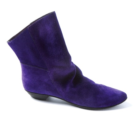 accesories: Purple low heel suede bootie isolated on white background