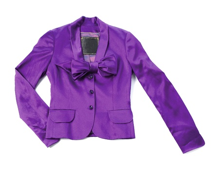 Purple satin blazer with bow tie and crystal buttons isolated on white background Stock Photo - 18822431