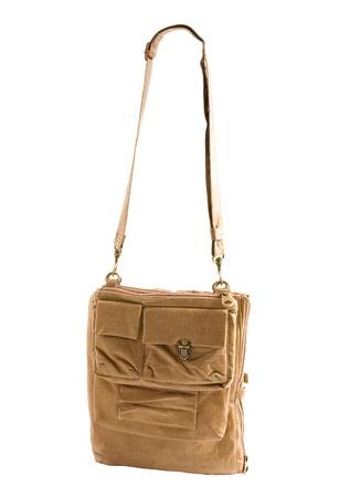 Explorer shoulder bag isolated on white background    Stock Photo